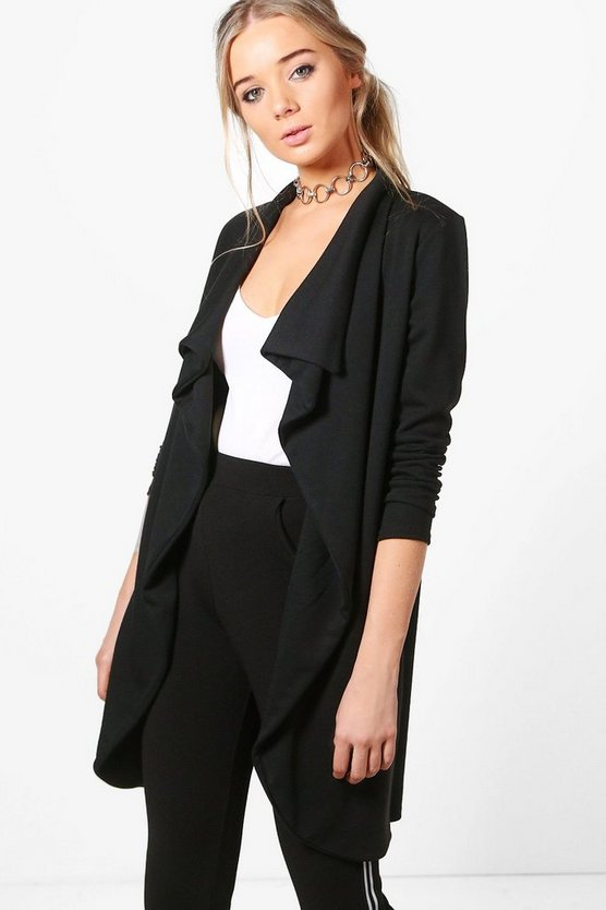 Ponte Wrap Front Duster Jacket