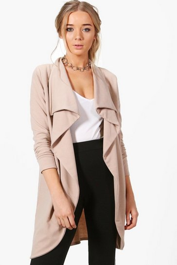 Womens Sand Ponte Wrap Front Duster Jacket