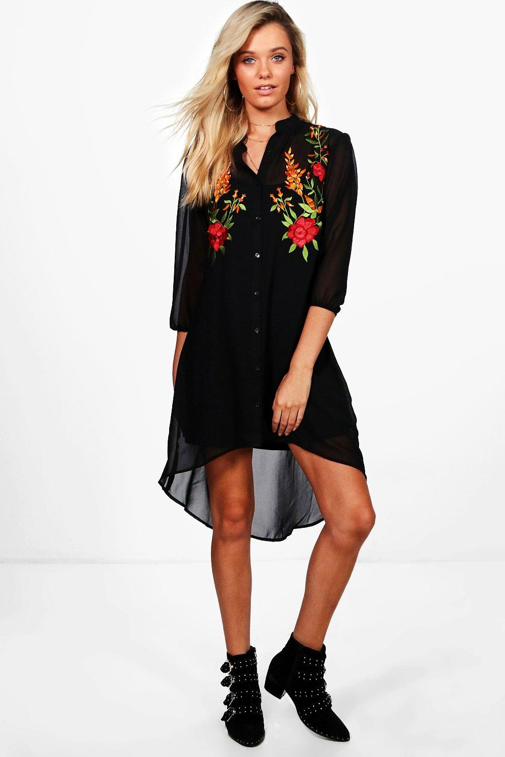 a9d227521792 Katie Boutique Floral Embroidered Shirt Dress | Boohoo