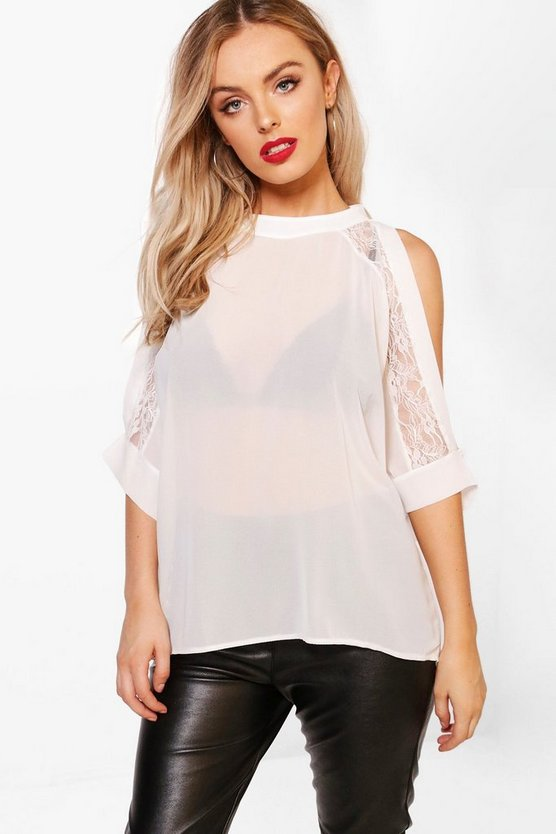 Layla Woven Lace Cold Shoulder Blouse