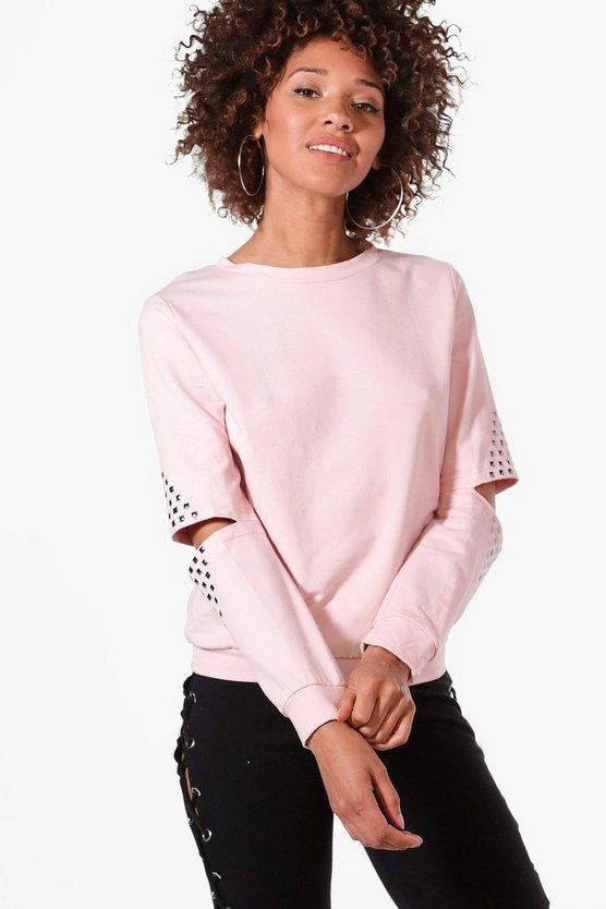 Lily Studded Cut Out Sleeve Sweatshirt