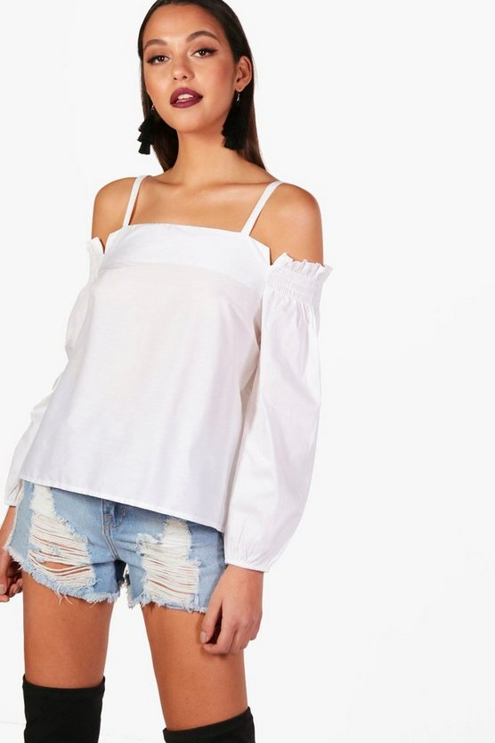 Cotton Cold Shoulder Woven Blouse