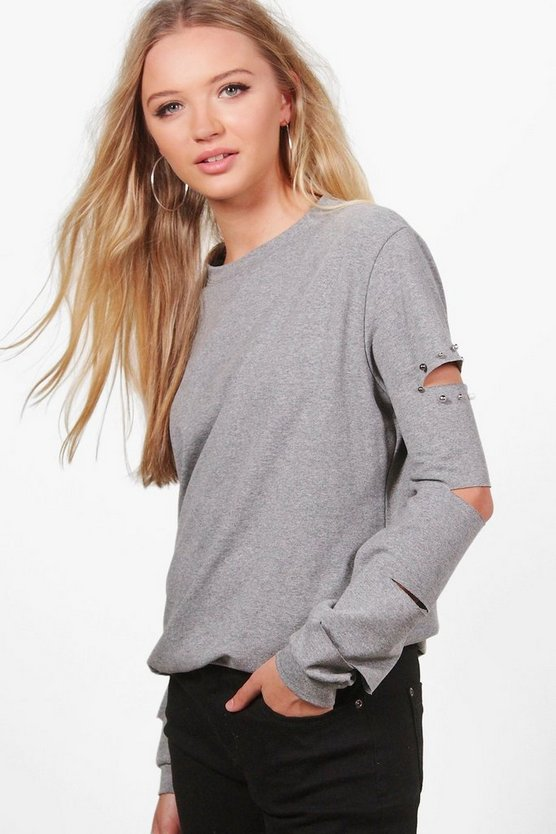 Sofia Studded Cut Out Detail Sweatshirt