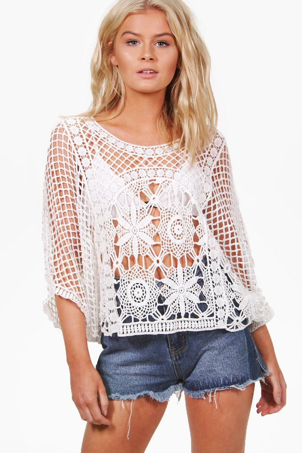 378091c7 Alexis Crochet Woven Top | Boohoo