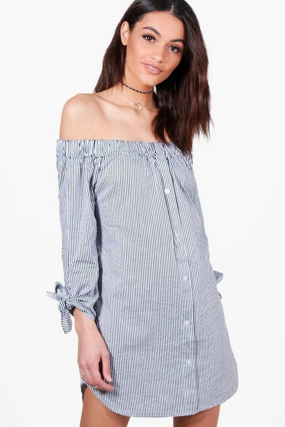 Heather Off Shoulder Tie Sleeve Shift Dress