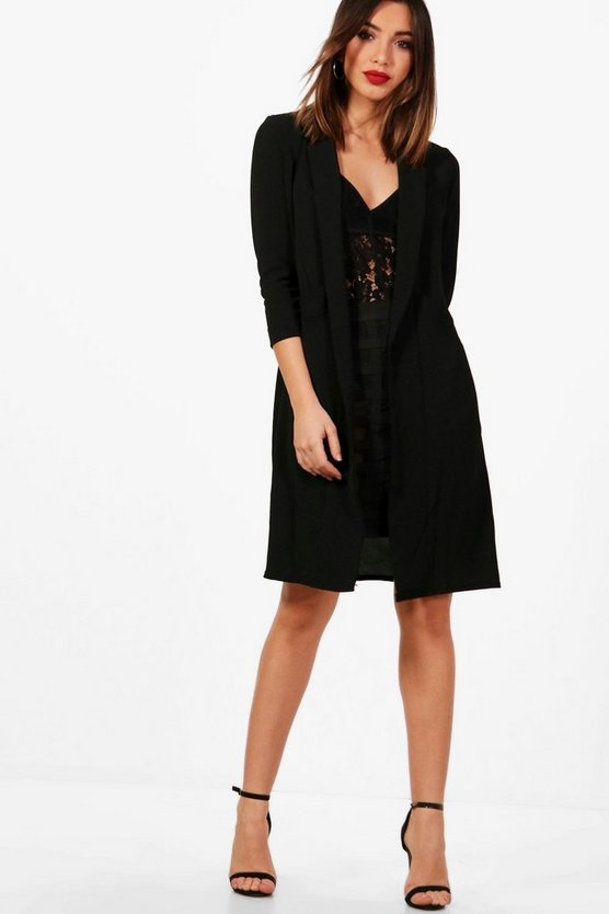 Womens Black Woven Pocket Duster