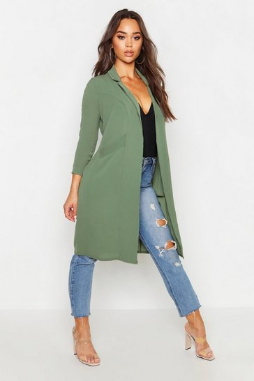 Womens Khaki Woven Pocket Duster