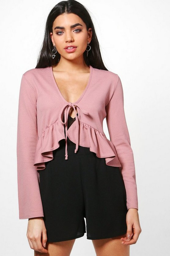 Lena Frill Detail Tie Front Jacket