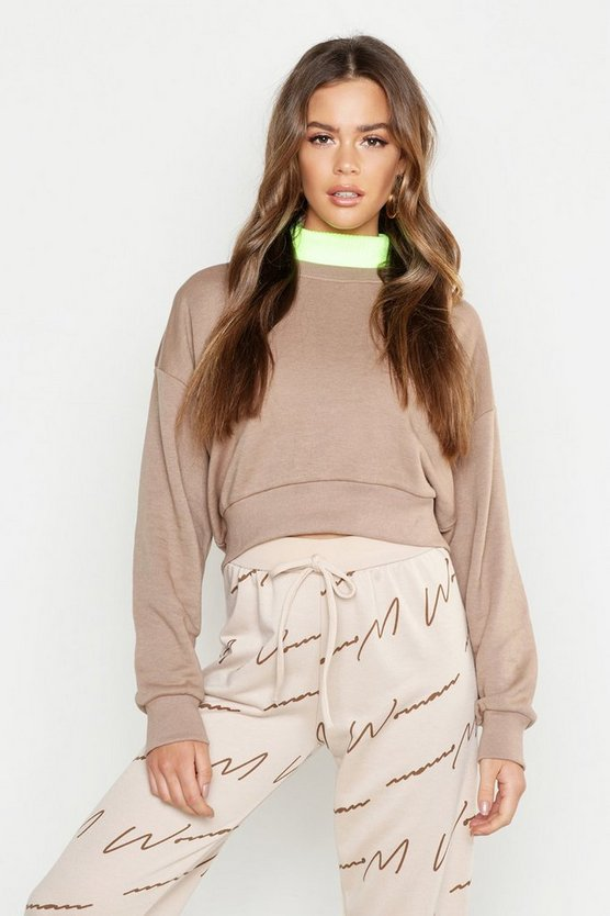Womens Stone Oversized Slouchy Crop Sweatshirt