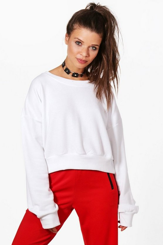 Womens White Oversized Slouchy Crop Sweatshirt
