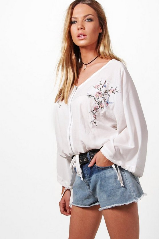 Emilia Embroidered Zip Front Blouse