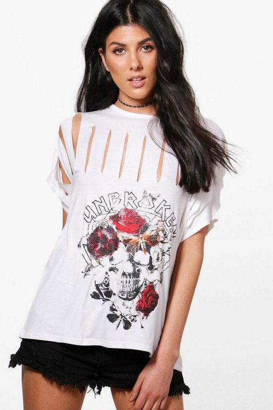 Charlie Slashed Printed Band T-Shirt