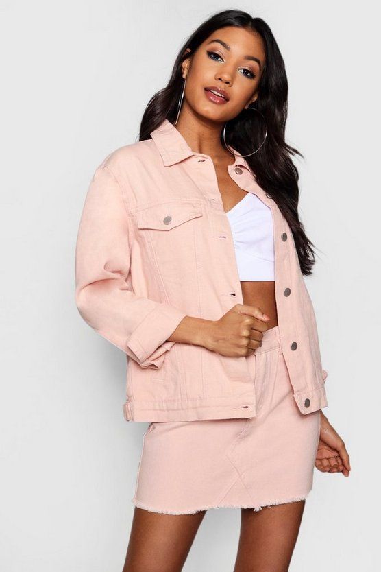 Womens Nude Oversized Denim Jacket