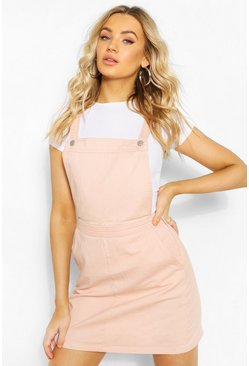 Womens Nude Denim Pinafore Dress