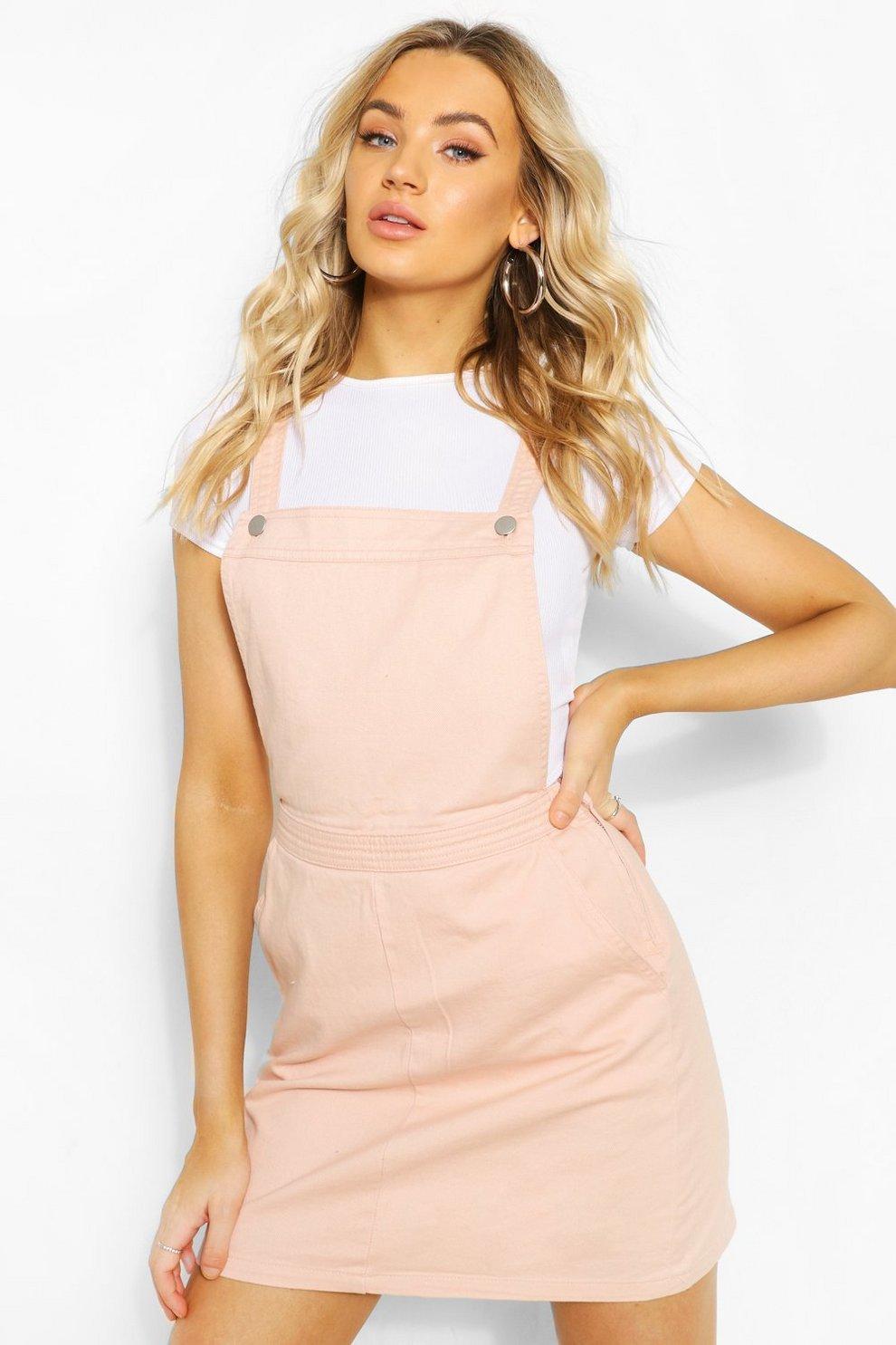 59b761ffb90 Nude Denim Pinafore Dress