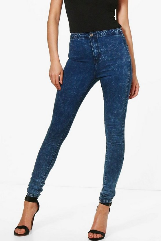 Lara High Rise Acid Wash Tube Jeans
