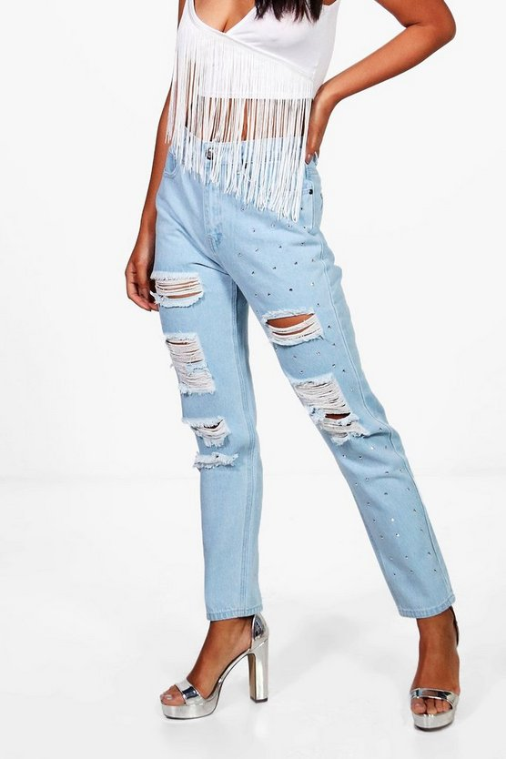 Sophie Distressed Studded Mom Jeans