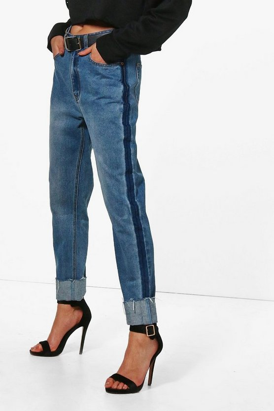High Waist Deep Cuff Mom Jeans