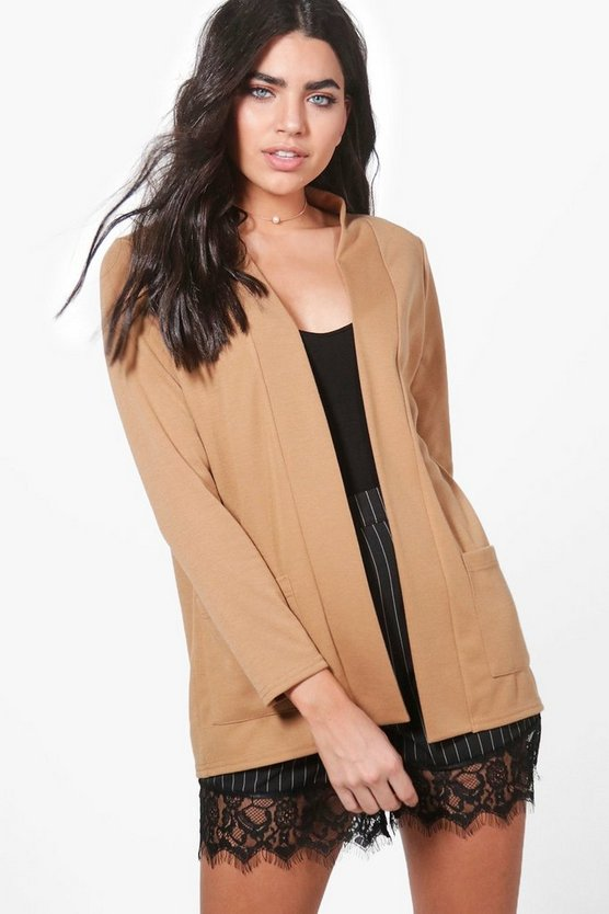 Womens Camel Niamh Pocket Collarless Blazer