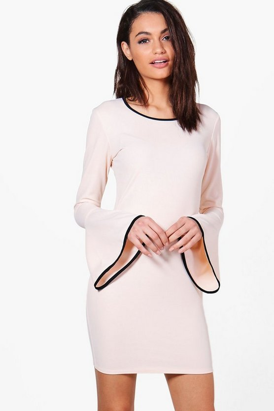 Emily Flare Sleeve Dress With Tipping