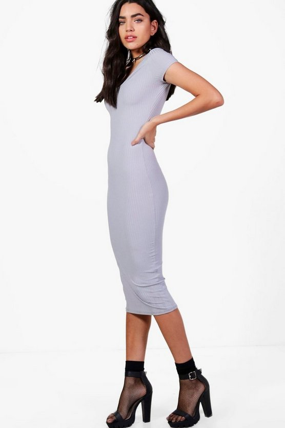 Olivia V Neck Ribbed Midi Dress