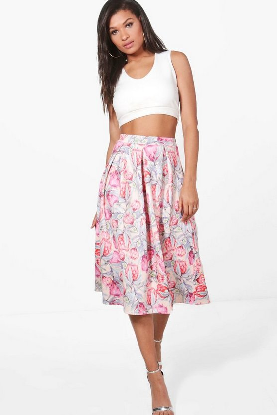 Gia Tonal Summer Floral Box Pleat Skater Skirt