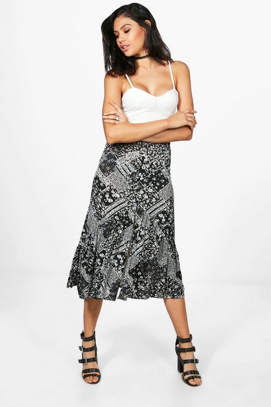 Sierra Bohemian Drop Hem Button Front Midi Skirt