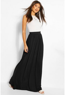 Womens Black Basic Floor Sweeping Jersey Maxi Skirt