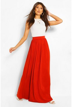 Womens Copper Basic Floor Sweeping Jersey Maxi Skirt