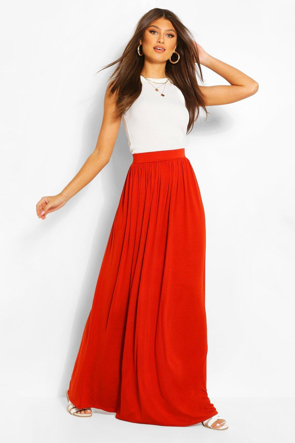 a3aed95326 Basic Floor Sweeping Jersey Maxi Skirt | Boohoo