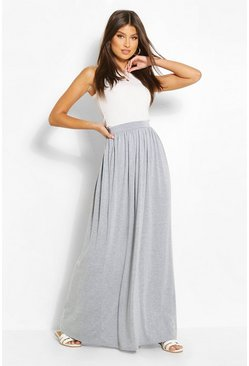 Womens Grey marl Basic Floor Sweeping Jersey Maxi Skirt