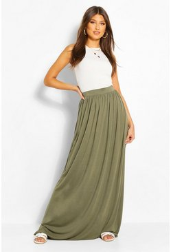 Womens Khaki Basic Floor Sweeping Jersey Maxi Skirt