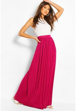 Womens Magenta Basic Floor Sweeping Jersey Maxi Skirt
