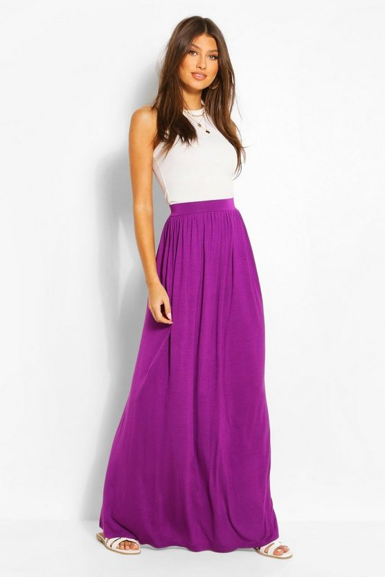 Womens Violet Basic Floor Sweeping Jersey Maxi Skirt