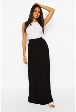 Black Basic Floor Sweeping Jersey Maxi Skirt