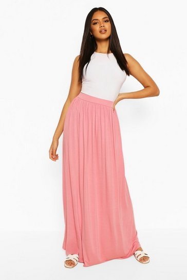 Dusky pink Basic Floor Sweeping Jersey Maxi Skirt