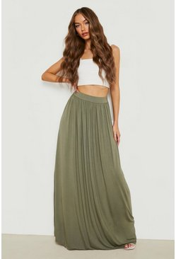Olive Basic Floor Sweeping Jersey Maxi Skirt