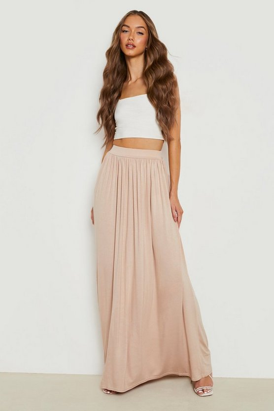 Womens Sand Basic Floor Sweeping Jersey Maxi Skirt