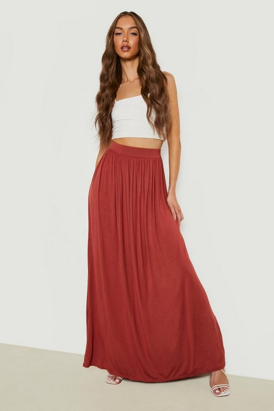 Womens Olive Basic Floor Sweeping Jersey Maxi Skirt