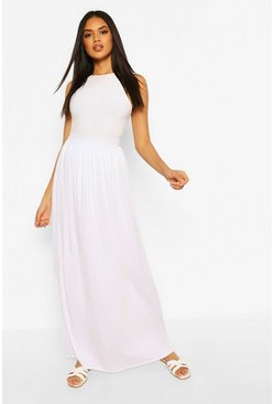 White Basic Floor Sweeping Jersey Maxi Skirt