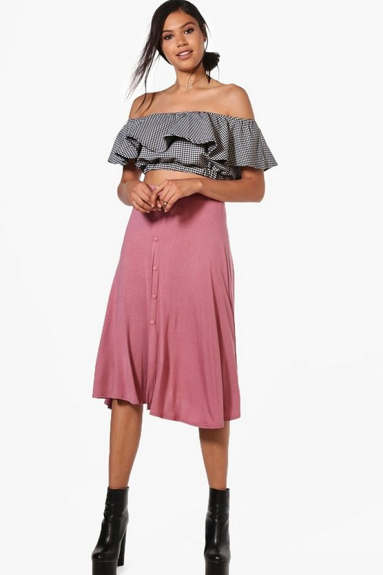 Eva Button Front Jersey Midi Skirt