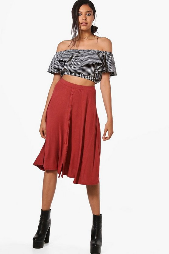 Womens Spice Eva Button Front Jersey Midi Skirt
