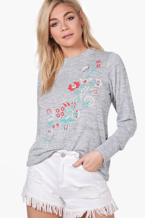 Paige Floral Embroidered Print Knitted Tunic