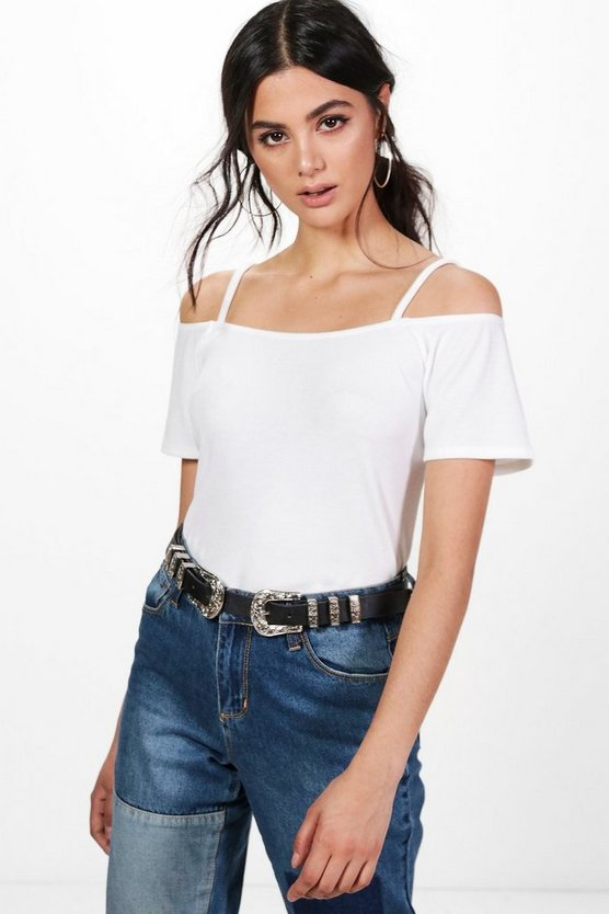 Holly Strap Shoulder Bardot Knitted Top