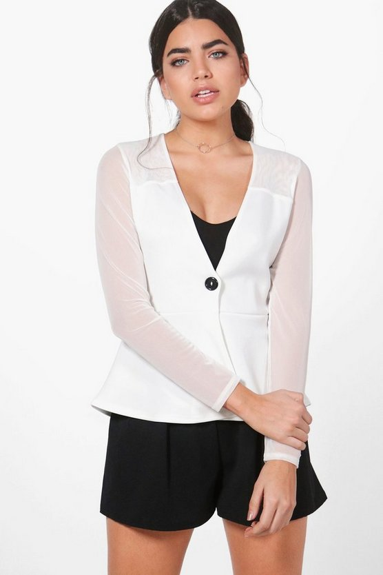 Frances Sheer Mix Peplum Blazer