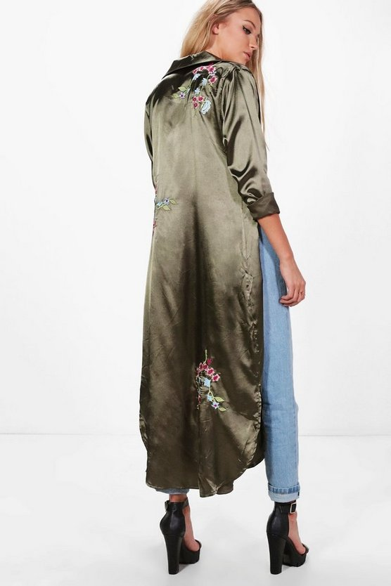 Freya Embroidered Satin Duster, Хаки, Женские