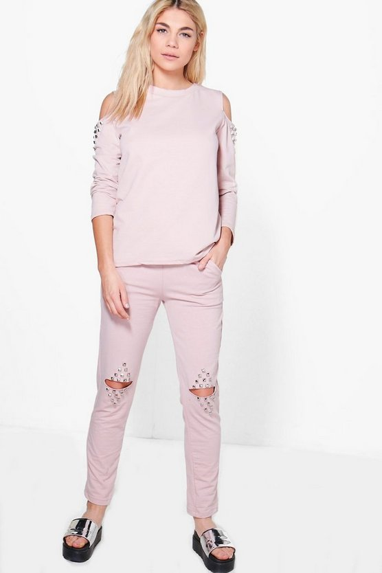 Adaline Split Knee Stud Detail Sweat Joggers