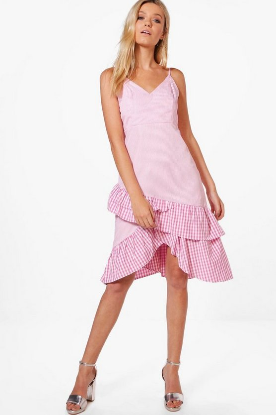 Stripe & Gingham Mix Ruffle Detail Dress