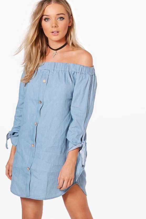 Button Off Shoulder Chambray Dress