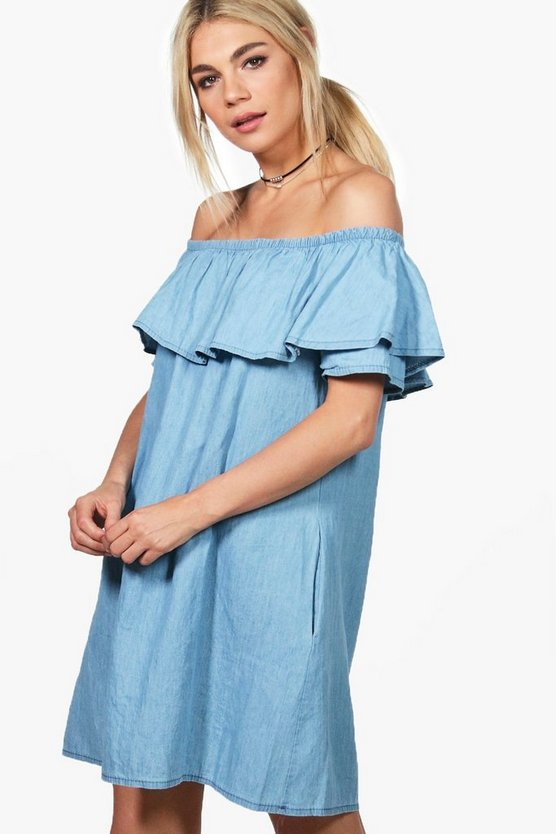 Rachael Ruffle Off Shoulder Chambray Dress